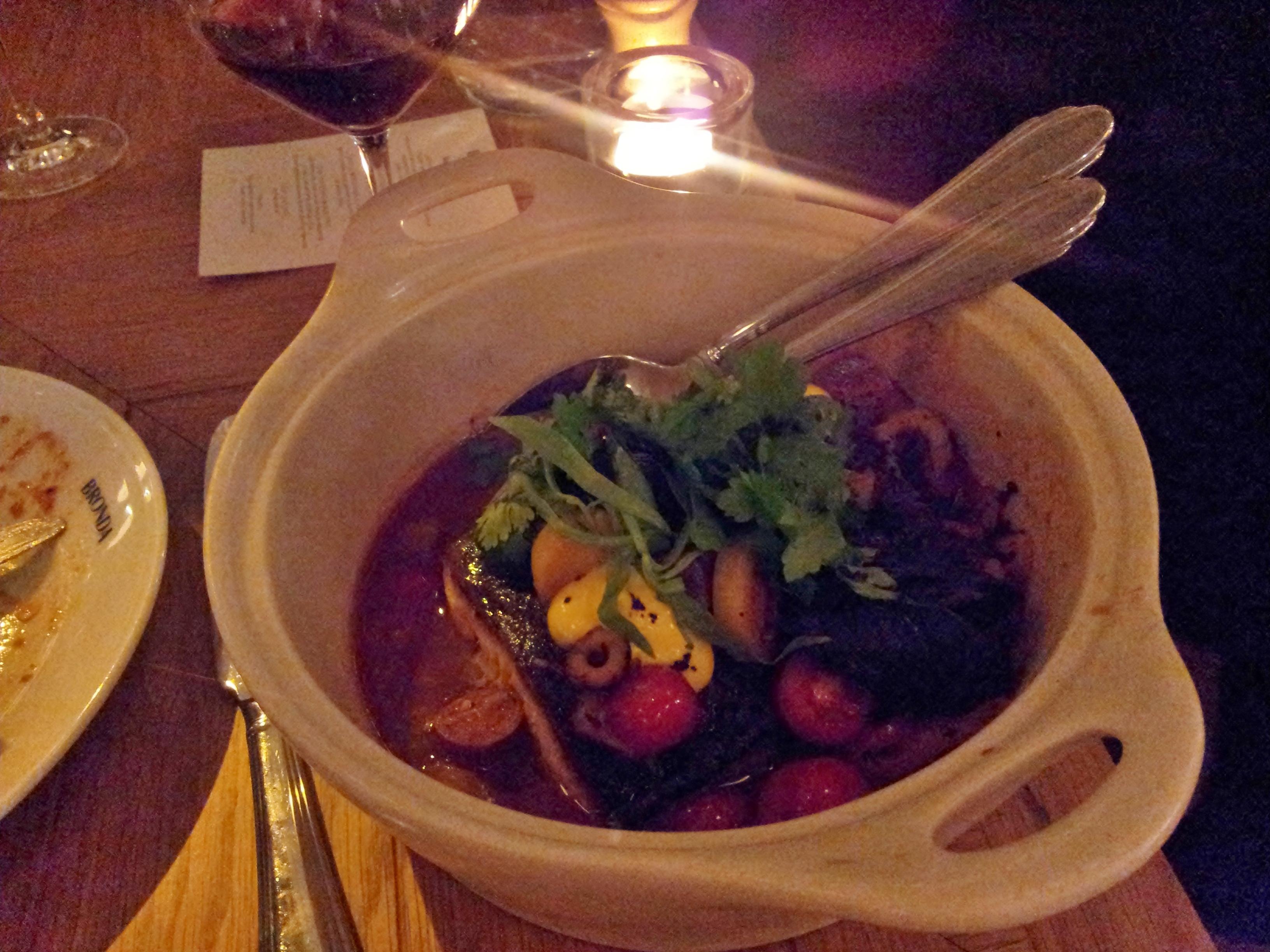 Ravintola Bronda, Helsingfors: Local fish stewed basque style & truffle polenta