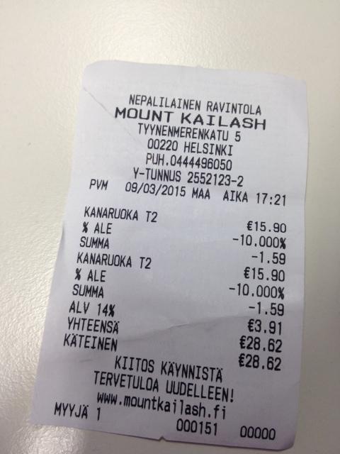 Mount Kailash, Helsinki: TakeAwaystä saa 10% alennusta