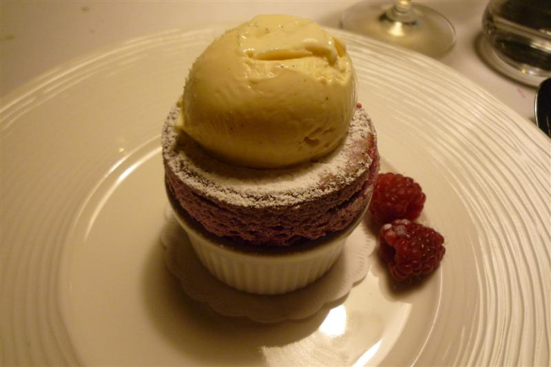 Savoy, Helsinki: Raspberry and blueberry soufflé with vanilla ice