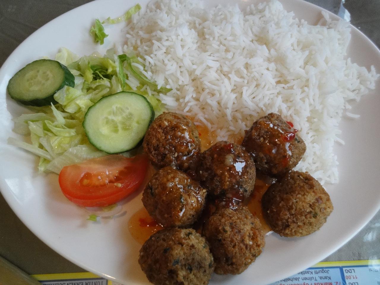 Ravintola Pippuri, Helsinki: Falafel riisillä
