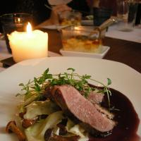 Duck with berrysauce & forest mushrooms.